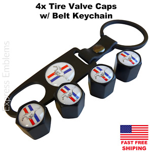4pcs Ford Mustang Tire Valve Cap Stem Cover With Matching Belt Keychain