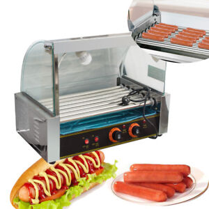 us portable Commercial 18 Hotdog Hot Dog 7 Roller Grill Cooker Machine W cover