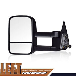 Fit 99 07 Chevy Gmc Sierra 1500 2500 3500 Left Side Tow Mirror Manual Black
