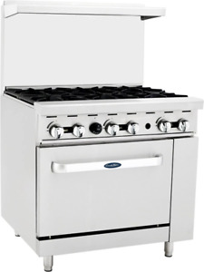 Atosa Range 36 in Gas Range With 6 burner And 26 Oven Ato 6b
