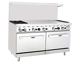 Atosa Range 60 in Gas Range 2 burner 48 Rt Griddle Ato 2b48g