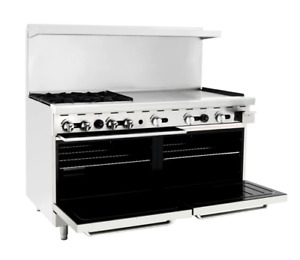 Atosa Range 60 in Gas Range 4 burner 36 Rt Griddle Ato 4b36g