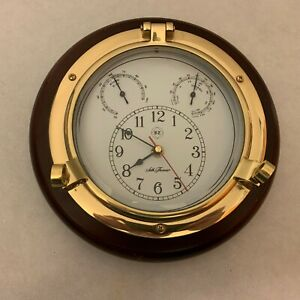 Seth Thomas Meridian 1046 Wall Clock With Hygro Thermo Gages Nautical