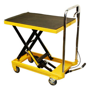32 w X 17 1 2 w Mobile 330lb Heavy Duty Hydraulic Table Lift 9 To 28 Jack Cart