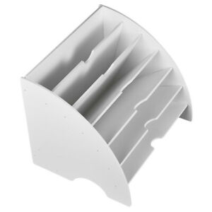 Storage Box Self assembly File Holder Case 6 Compartments Sector Shape White