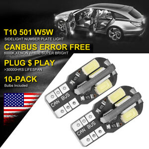 10x Canbus T10 194 168 W5w 5730 8 Led Smd White Car Side Wedge Light Bulb Lamp