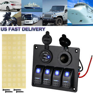 4 Gang Blue Led Rocker Switch Panel Breakers Car Marine Boat Rv Dual Usb Port Us