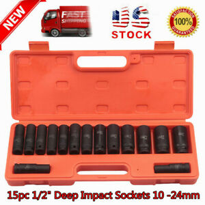 15pc Car Drive 6 Point Deep Impact Socket Kit Chrome Vanadium Steel 10 24mm Usa