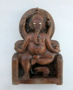 Antique Hindu God Ganesha Figure Deity Statue Old Rare Indian Hand Carved Wooden