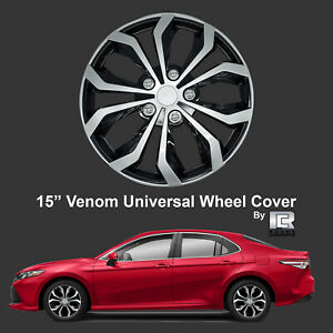 Roane Concepts Venom Edition 15 Black Silver Snap On Hub Caps Set Of 4