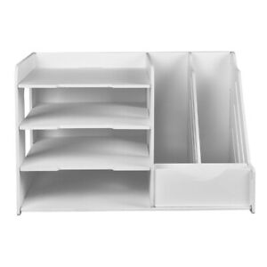 Storage Box Self assembly File Holder Case 3 2 Parts Pvc Made White Color