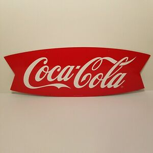 2009 Coca-Cola Fishtail Metal Sign Collectible