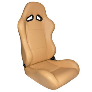 Cipher Auto Maple Tan Leatherette Universal Euro Racing Seats New Pair W Sliders