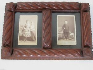 Antique Carved Tramp Art Folk Art Double Frame Photo S Children With Toys