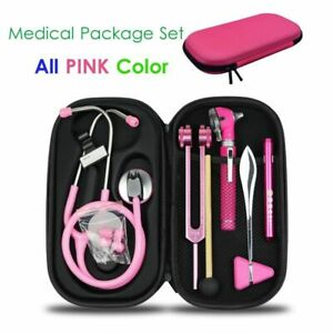 Medical Bag Pouch Set Stethoscope Otoscope Tuning Fork Reflex Hammer Penlight