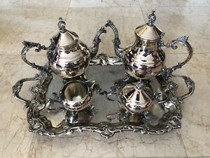 Authentic 5 Pc Fb Rogers Silver Excellent Coffee Tea Set Victorian Silver Plate