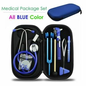 Blue Medical Bag Pouch Set Stethoscope Otoscope Tuning Fork Reflex Hammer Led