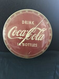 Vintage Round Coca Cola Button Thermometer~Works~