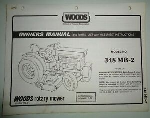 Woods 348 Mb 2 Rotary Mower Operators Owners Parts Manual Catalog Mitsubishi