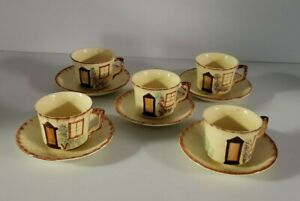 Set Of 5 Keele Street Pottery Cottage Pattern Cup Saucer Sets Made In England