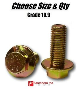 all Sizes Qty s Grade 10 9 Metric Flange Bolts Yellow Zinc Hardened