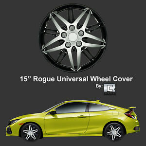 Roane Rogue Edition 15 Black Silver Snap On Hub Caps For Toyota Set Of 4
