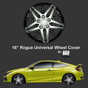 Roane Rogue Edition 16 Black Silver Snap On Hub Caps For Toyota Set Of 4