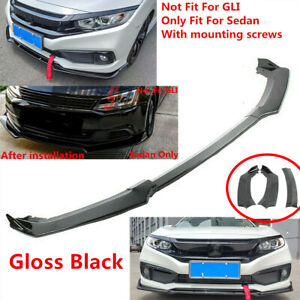 Fit For Vw Jetta Mk6 2012 2013 2014 Sedan Front Underbody Lip Spoiler Shinyblack
