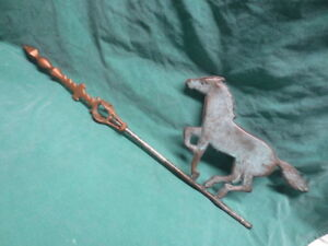 Vtg Antique Cast Iron Weathervane Arrow W Hollow Copper Running Horse