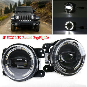 4 30w Led Fog Lights White Angel Eyes Halo Ring Lamp Projector 2000lm Universal