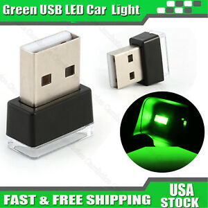 Mini Usb Green Led Car Interior Light Neon Atmosphere Ambient Decoration Lamp Us