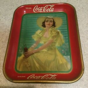 1938 Coca Cola Tray Lady With Yellow Dress ORIGINAL Signed By Bradshaw Crandall