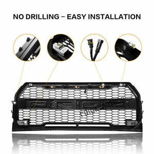 Front Grill Fit For Ford F150 2015 2017 Upper Bumper Grille W 3 Head Led Lights