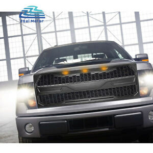 Front Grill For Ford F150 2009 2014 Upper Mesh Grille With Detachable Cover Led