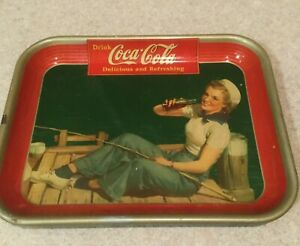 1940 ORIGINAL Coca Cola Tray A Lady In A Sailors Hat Fishing On A Dock