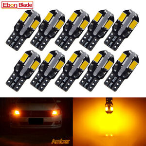 10 X T10 194 168 W5w Car Led Side Wedge Door Parker Light Bulbs Amber Orange 12v