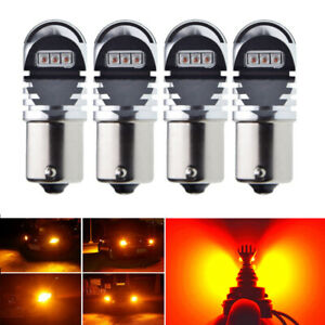 4 X Amber Bau15s 7507 Py21w 1156py Cree 30w Led Bulbs For Car Turn Signal Light