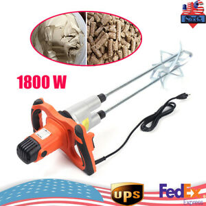 1800w Electric Mortar Mixer 110v Handheld Stirrer Paint Cement Grout Mixing Tool