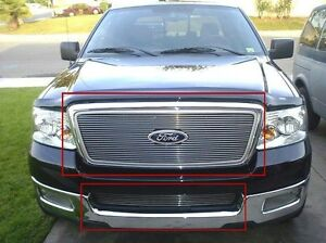 Billet Grills Insert Fits 04 05 Ford F 150 Front Grille Aluminum Grill Combo