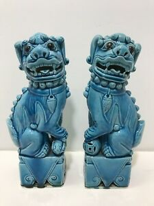 Vintage Turquoise Blue Chinese Porcelain Pair Foo Dogs Lions 9 5 Tall Figurines