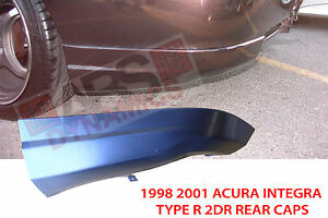 Type R 2pc Style Rear Lip For 1998 2001 Acura Integra Coupe Unpainted Black Abs