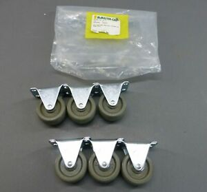 lot Of 6 Mcmaster carr 78155t33 Rigid Smart Casters W 2 Grey Rubber Wheel