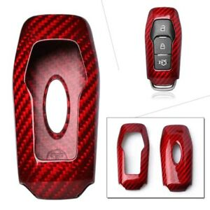 Auto Remote Key Cover Case Protective Carbon Fiber Red For Ford Fusion F150