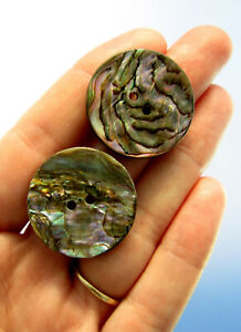 Antique Vintage Mother Of Pearl Mop Abalone Shell Buttons Lot Of 2 Sew Through