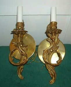 Vintage French Style Brass Gold Wall Sconce Light Fixture Pair