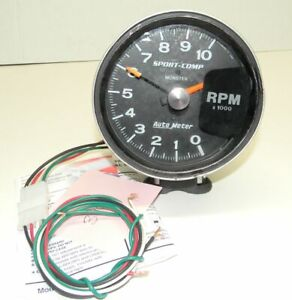 Auto Meter 5 Sport Comp Tachometer P N 3900 Very Good Condition