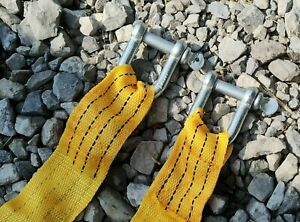 Us 3 Tons Car Tow Strap Towing Strap With Hooks Emergency Heavy Duty New