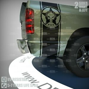 Punisher Vinyl Decal Stripes Military Star Molon Labe Truck Bed Side Sticker