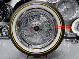 17 Chrome 100 Spoke Ford Wire Wheel Vogue White Wall Tire Package New Crown Vic