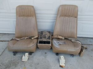 73 77 Chevy Truck High Back Bucket Seats W Console Seat Tracks Seatbelt